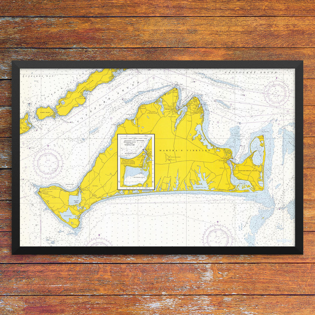 Martha's Vineyard Nautical Chart 12 x 18 Print