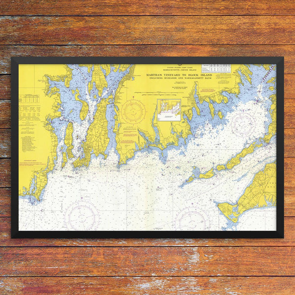 Martha's Vineyard to Block Island Nautical Chart 12 x 18 Print
