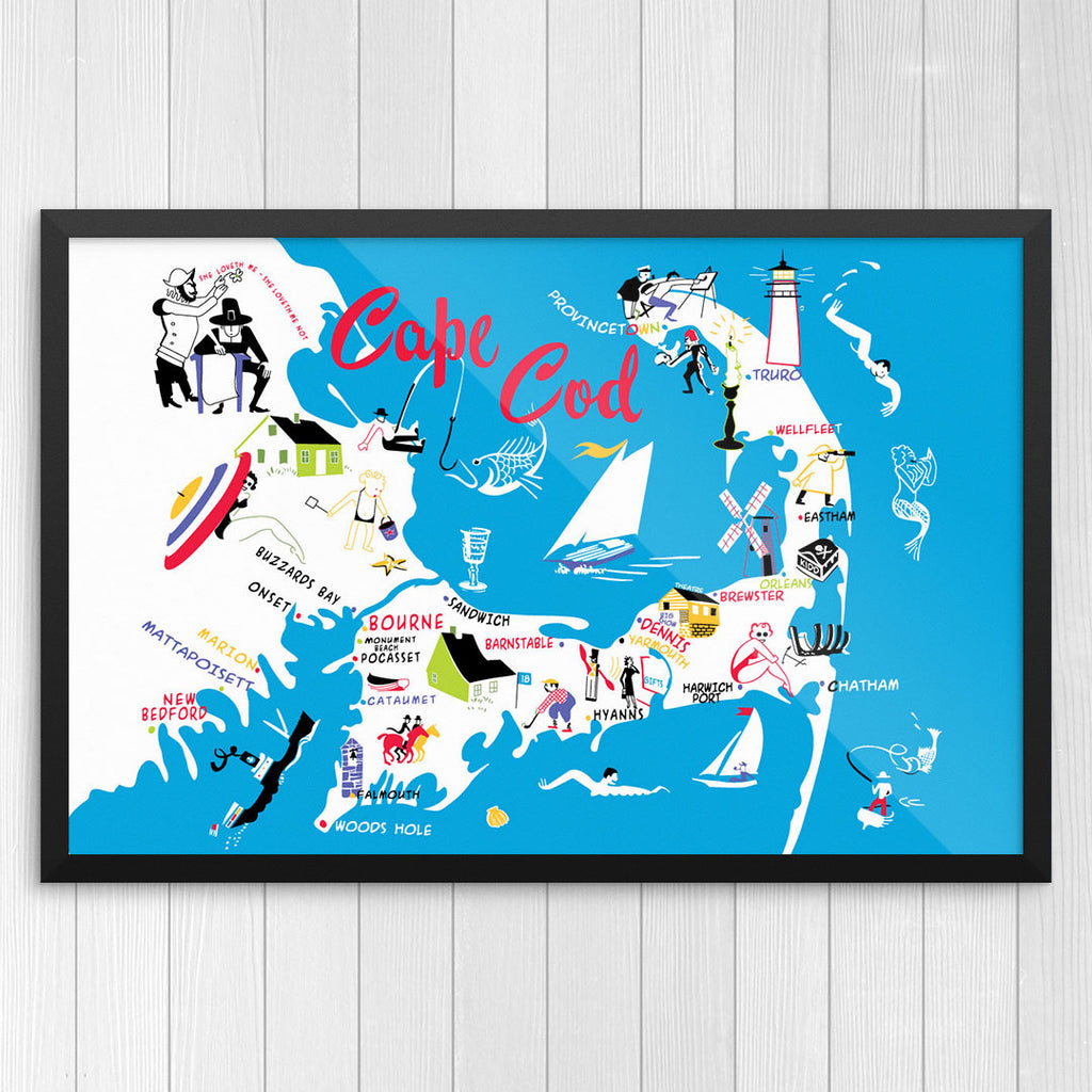 graphic relating to Printable Map of Cape Cod called Cape Cod 50s Colourful Map Print