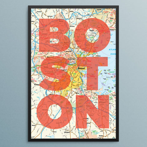 Boston Map 12 x 18 Print