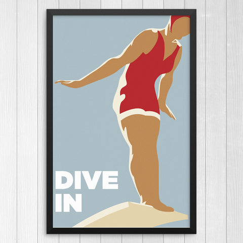 Dive In Woman Diver 12 x 18 Print
