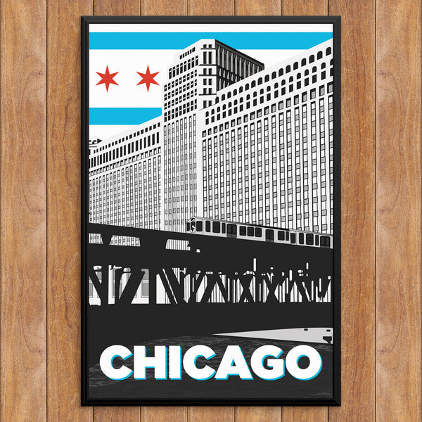 Chicago Merchandise Mart & Train 12 x 18 Print