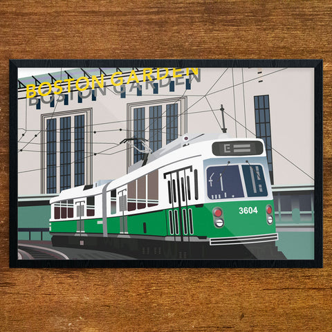 Old Boston Garden & Green Line Train 12 x 18 Print