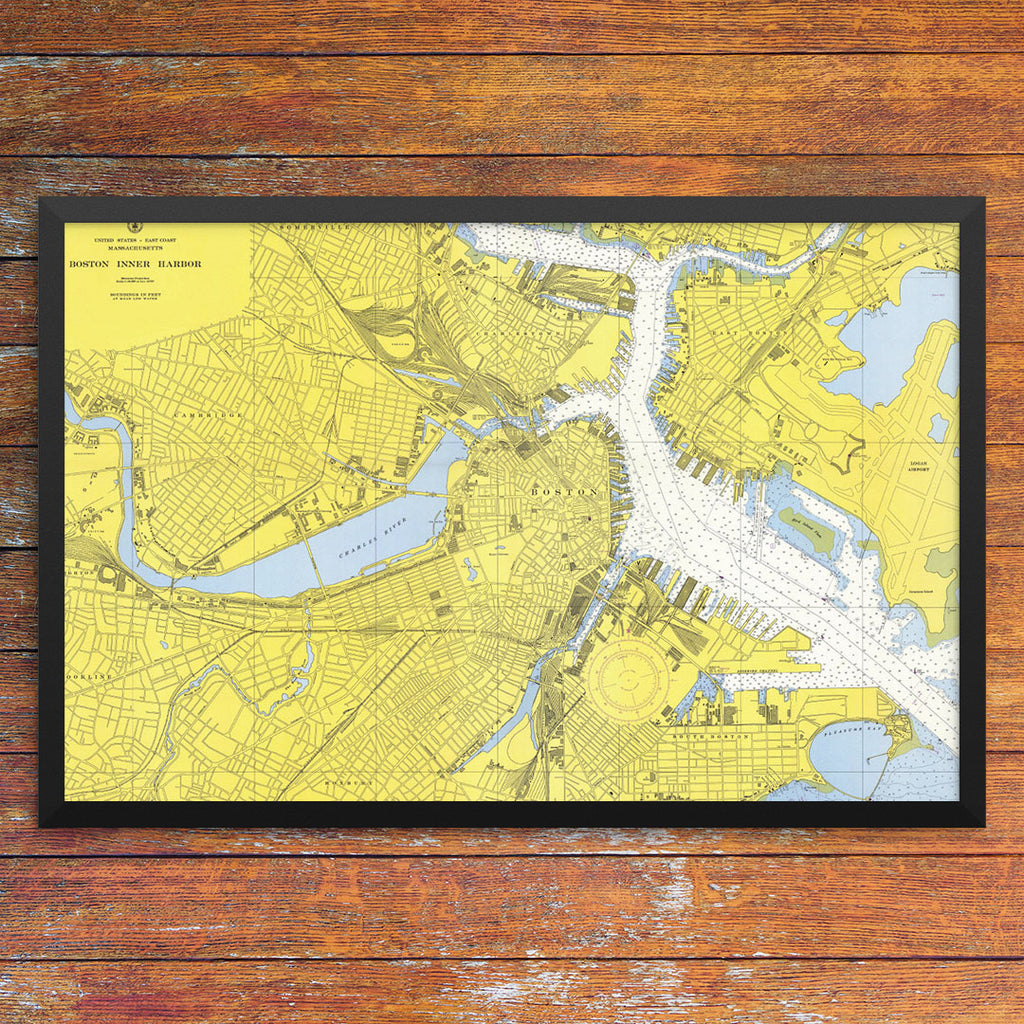 Boston Inner Harbor Nautical Chart 12 x 18 Print