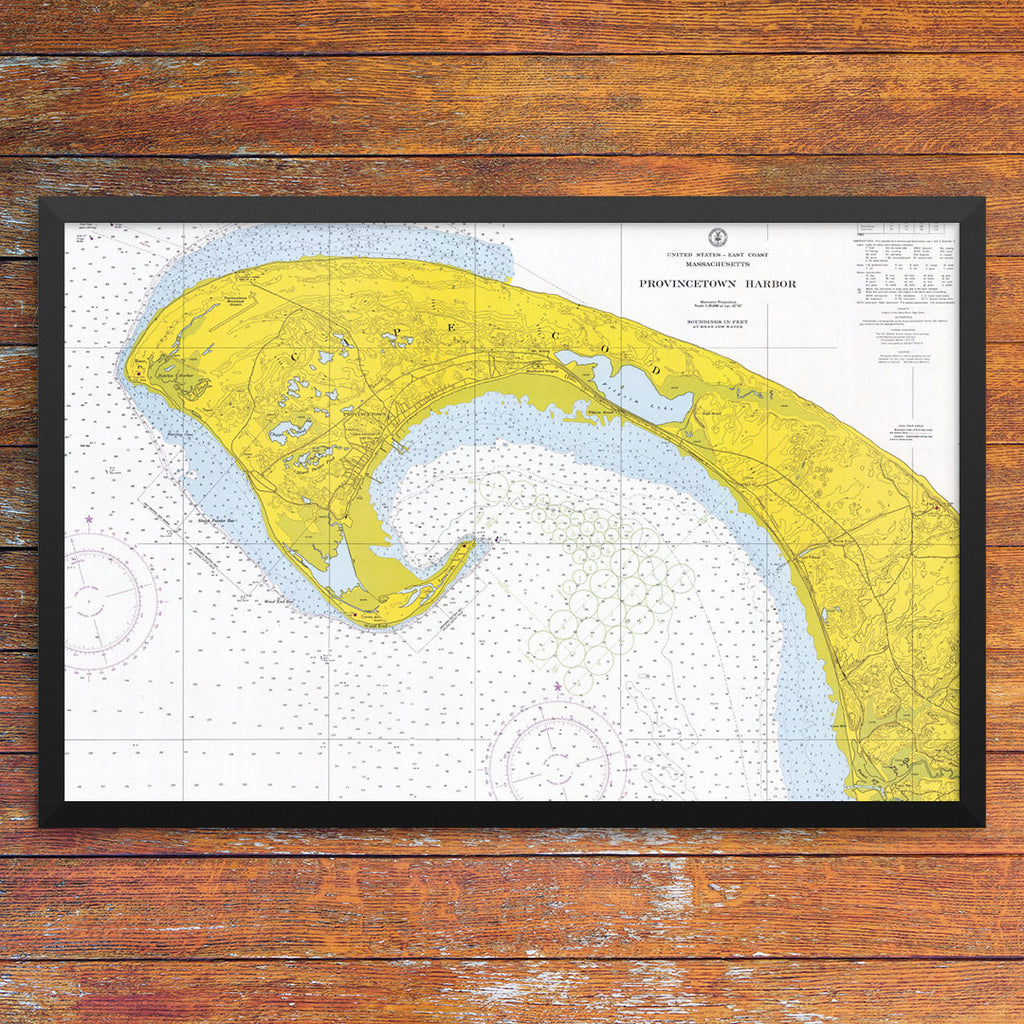 Provincetown Harbor Nautical Chart 12 x 18 Print