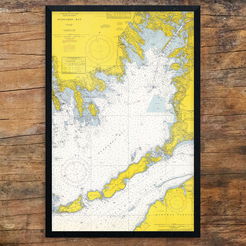 Buzzard's Bay Nautical Chart 12 x 18 Print