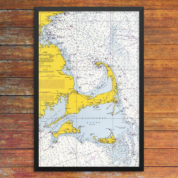 Cape Cod Mass Bay & Nantucket Sound Nautical Chart 12 x 18 Print