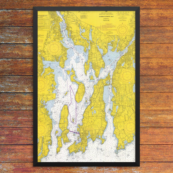 Narraganset Bay & Newport Nautical Chart 12 x 18 Print