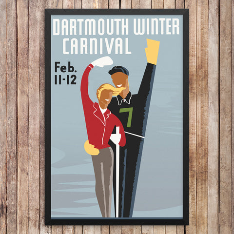 Dartmouth Winter Carnival Waving Couple 12 x 18 Print