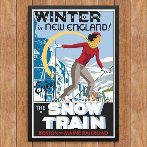 Winter in New England Enjoy The Snow Train Print