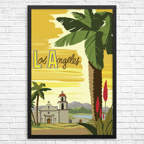 Los Angeles Mission Church & Palm Treet Print