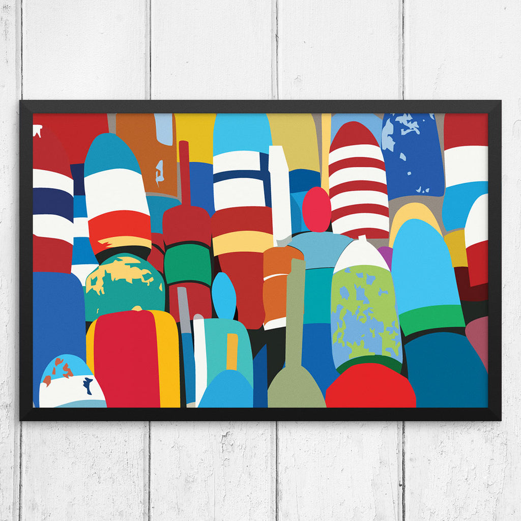 Colorful Lobster Buoys 12 x 18 Print