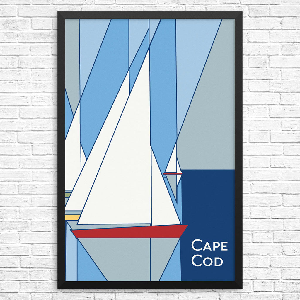 Cape Cod Geometric Sailboats 12 x 18 Print