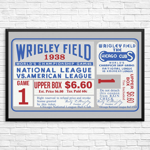 Wrigley Field 1938 World Series Game 1 Ticket Print