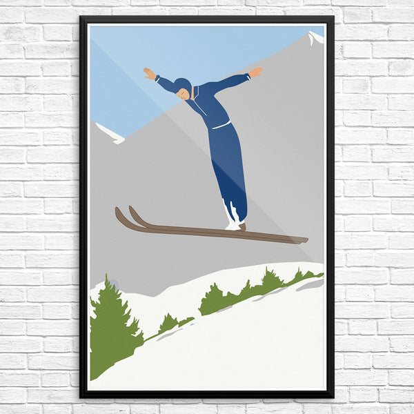 Ski Jumper and Mountain Print