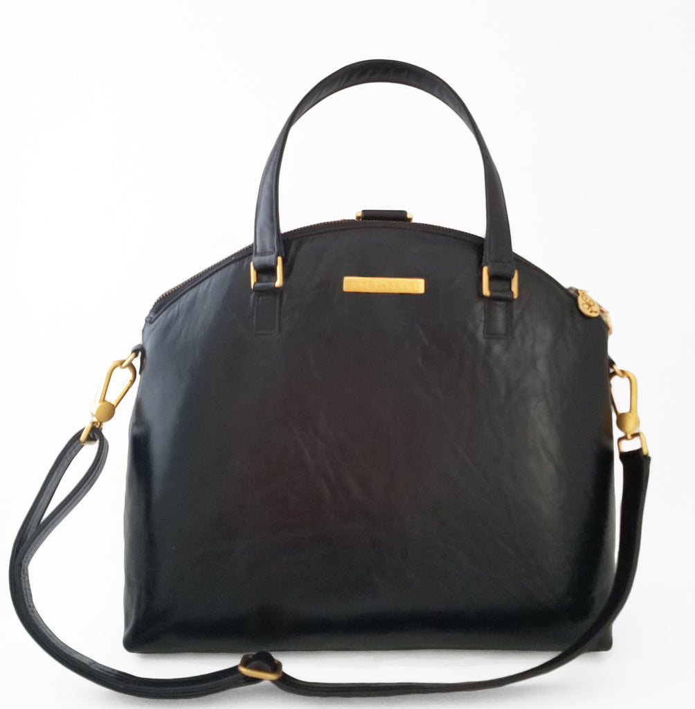 d9ea94e22702 Elodie Leather Backpack and Crossbody Bag in Midnight Black – Skye LeFevre