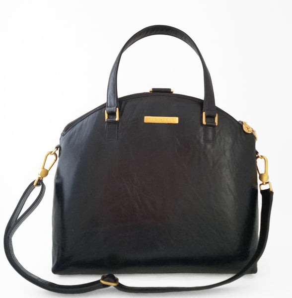 Elodie Leather Backpack and Crossbody Bag in Midnight Black