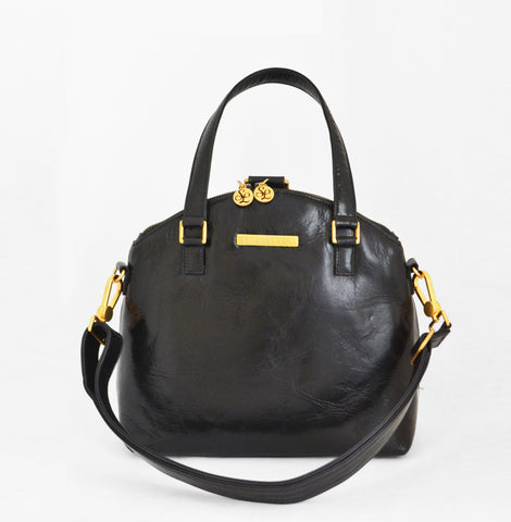Odette Leather Mini Backpack and Crossbody Bag in Midnight Black