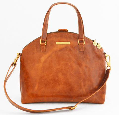 Elodie Leather Backpack and Crossbody Bag in Caramel