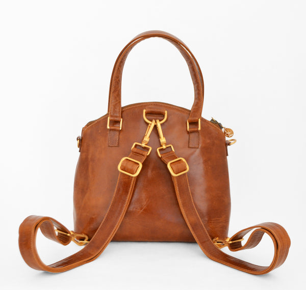 Odette Leather Mini Backpack and Crossbody Bag in Caramel