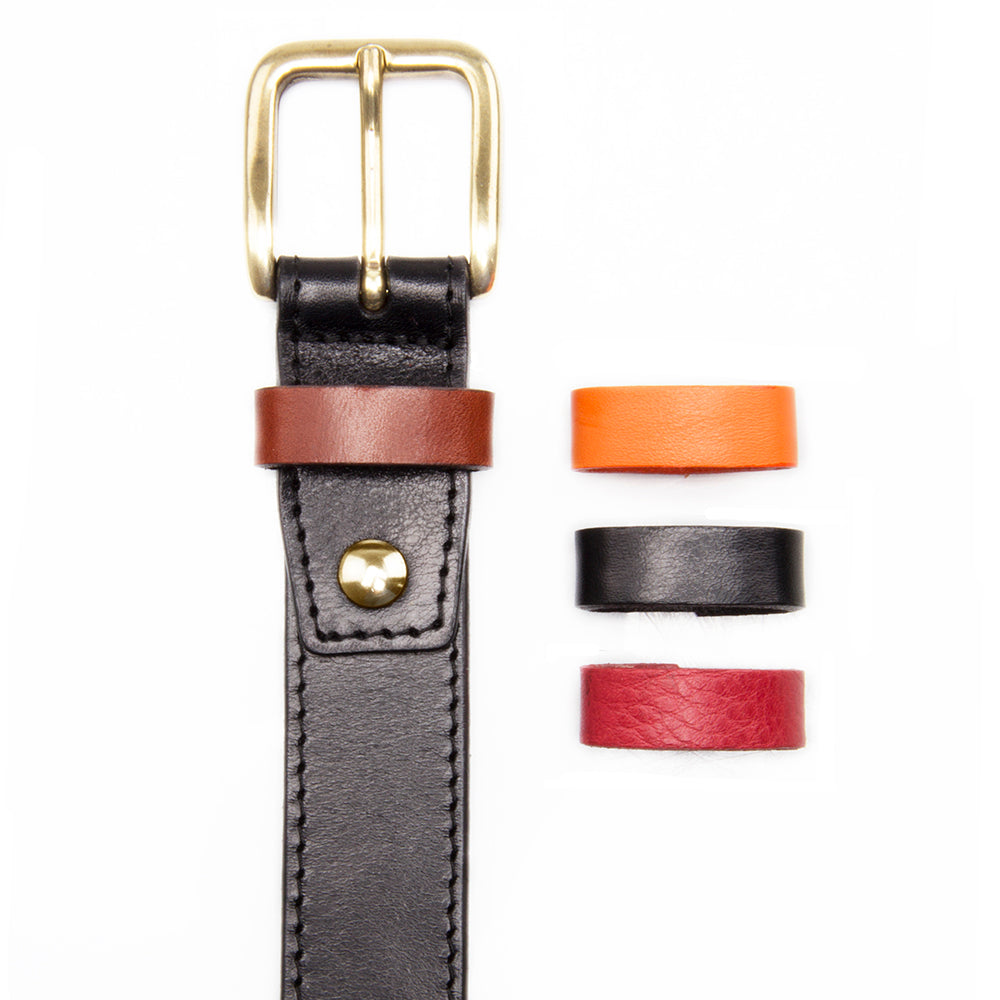 Black Leather Dress Belt with Interchangeable Keeper - Stolen Riches / CA