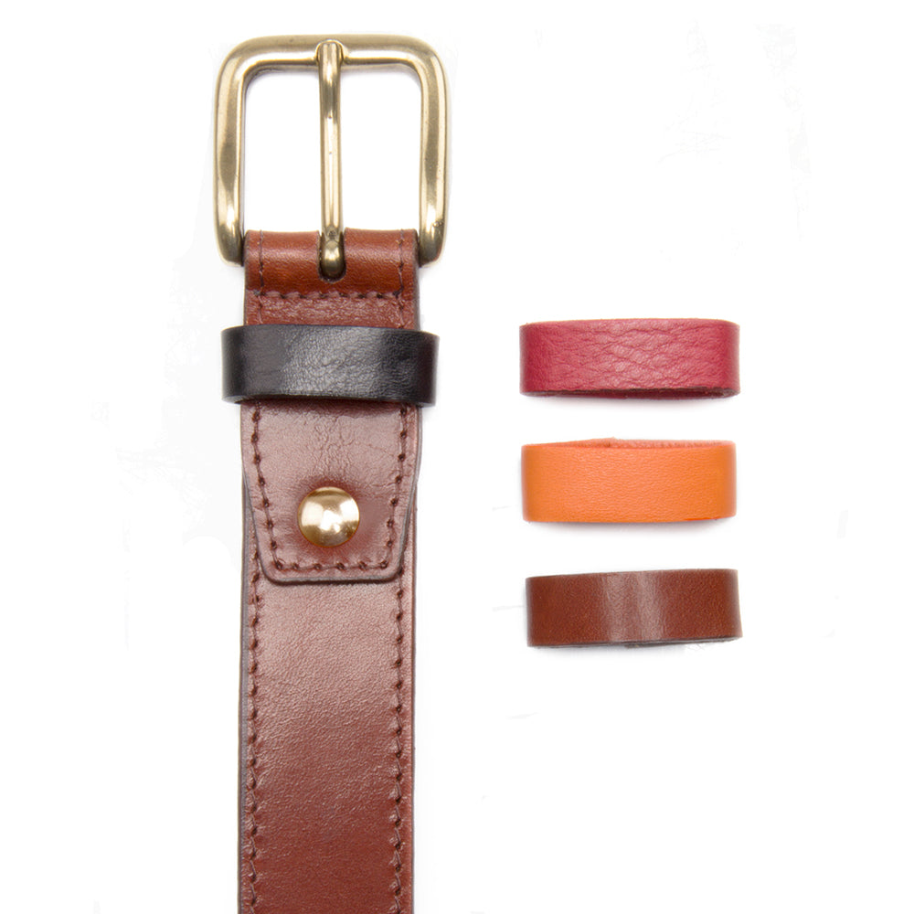 Brown Leather Dress Belt with Interchangeable Keeper - Stolen Riches / CA