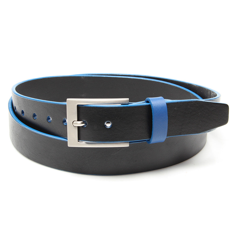 Black leather belt with Sharp Blue trim and keeper - Stolen Riches / CA
