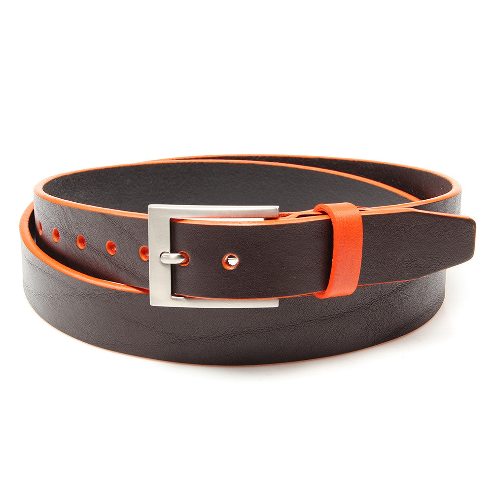 Brown leather belt with Tiqui Orange trim and keeper - Stolen Riches / CA