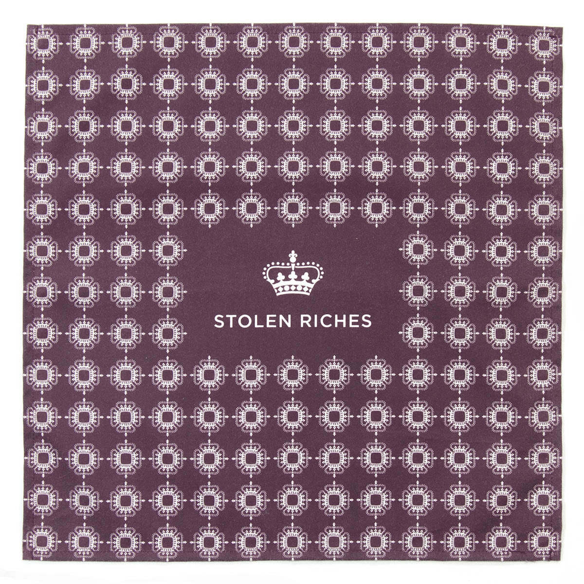 "Der Alte Burgundy - Crown Pattern Pocket Square (13""x13"") - Stolen Riches / CA"