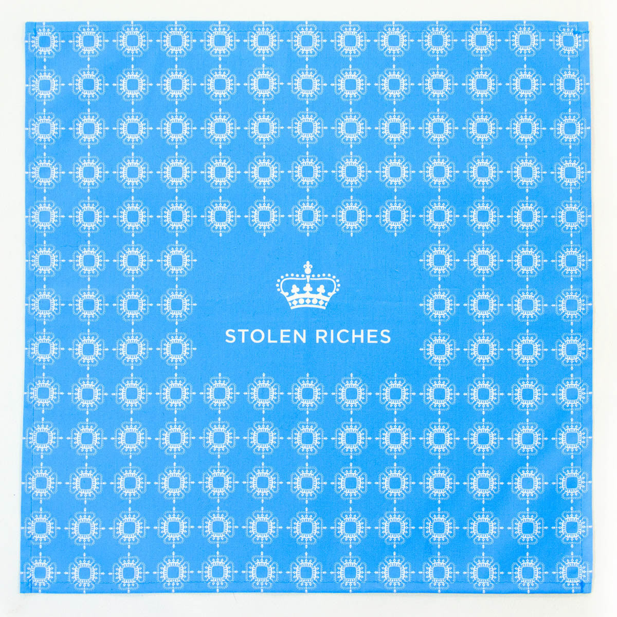 "Dickie Blue - Crown Pattern Pocket Square (13""x13"") - Stolen Riches / CA"