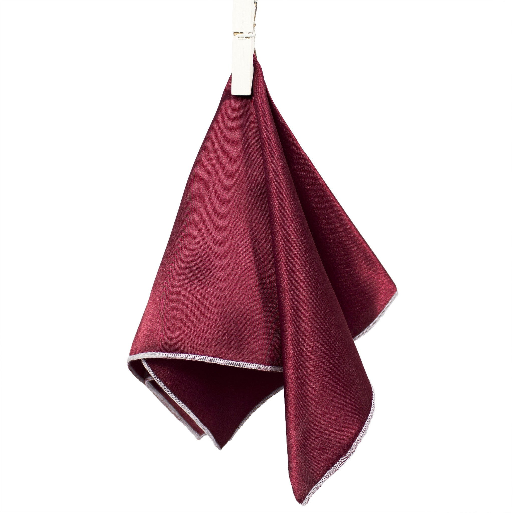"Parachute Maroon - Merrow Stitch Pocket Square (11""x11"") - Stolen Riches / CA"