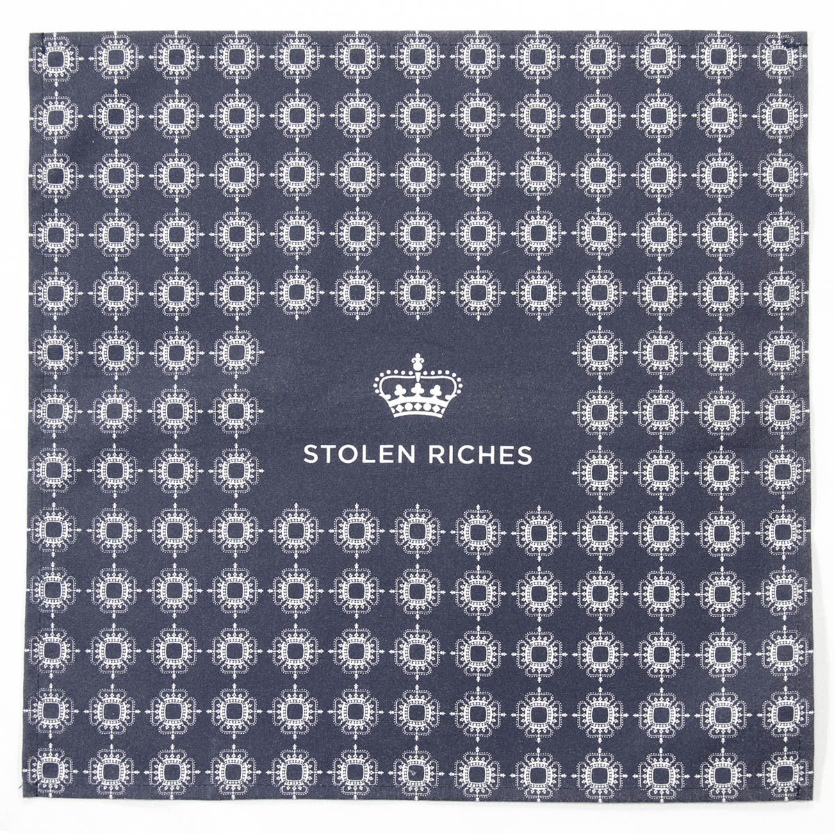 "Mission Blue - Crown Pattern Pocket Square (13""x13"") - Stolen Riches / CA"