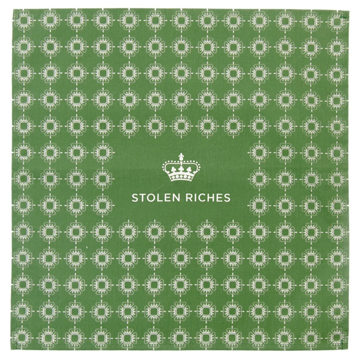 "Moville Green - Crown Pattern Pocket Square (13""x13"") - Stolen Riches / CA"