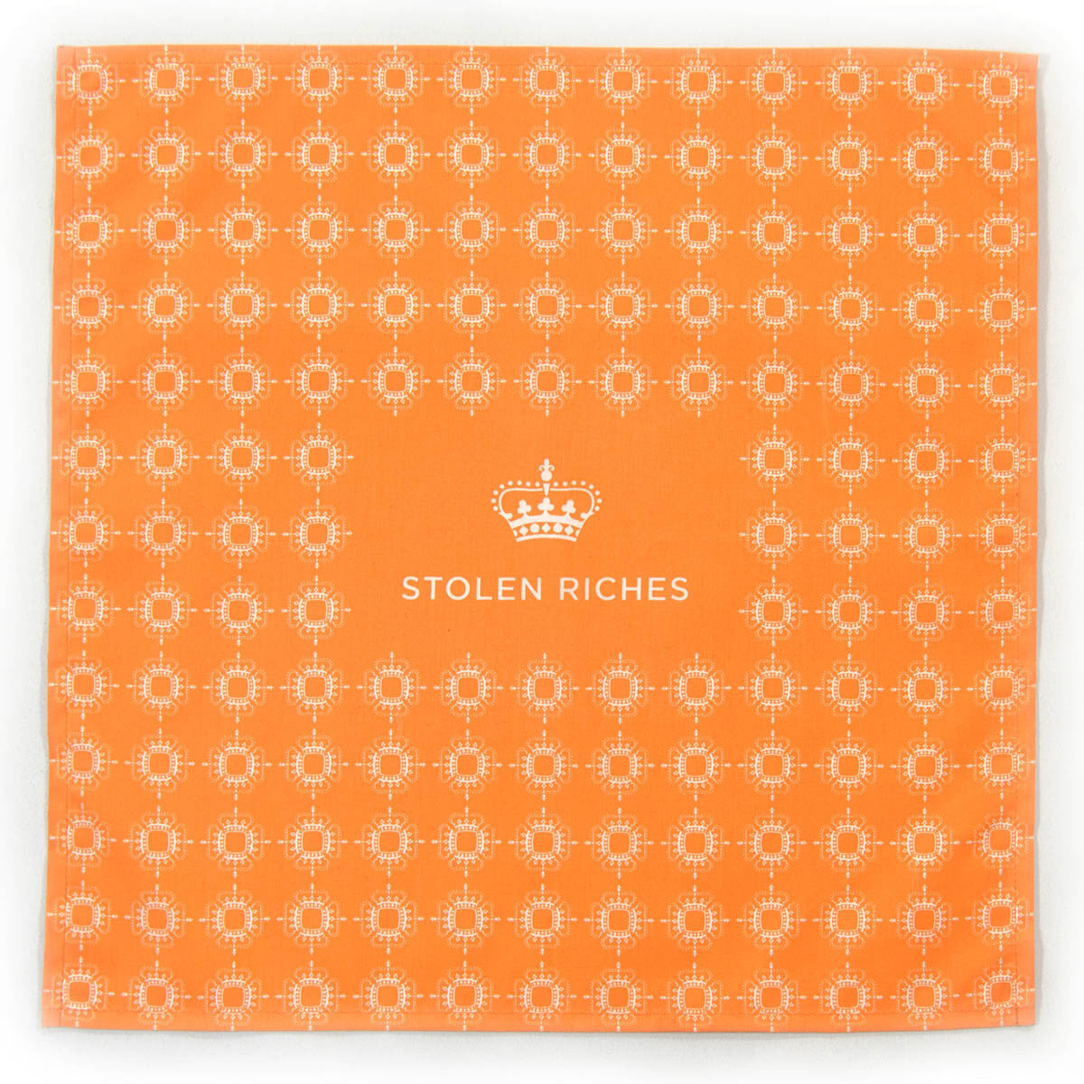 "Tiqui Orange - Crown Pattern Pocket Square (13""x13"") - Stolen Riches / CA"