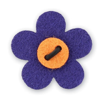 Flower Lapel Pin - Buster Purple with Tiqui Orange - Stolen Riches / CA