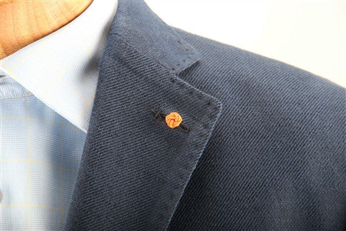 Crown Lapel Pin - Dickie Blue with Tiqui Orange - Stolen Riches / CA