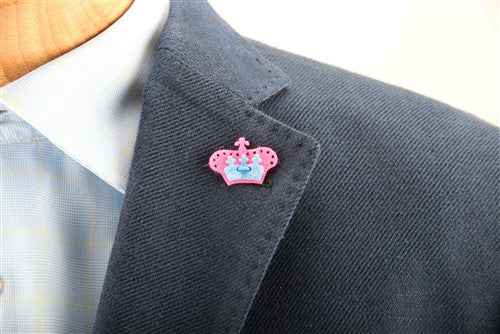Crown Lapel Pin - Poona Pink with Bishop Blue - Stolen Riches / CA