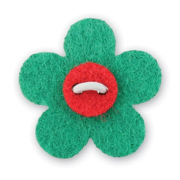 Flower Lapel Pin - Nicklaus Green with Portsalon Red - Stolen Riches / CA