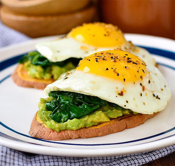 Avocado, Egg & Spinach Sweet Potato Toasts