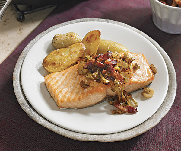 Roasted Salmon with Turkey Bacon and Leeks