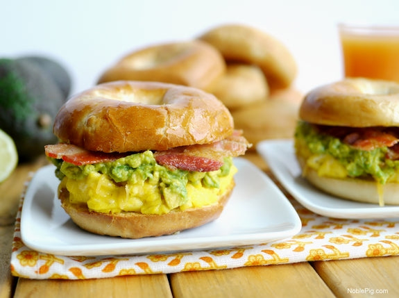 Eggs, Sausage & Guacamole on a Pagel