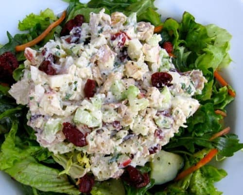 Classic Chicken Salad Over Greens