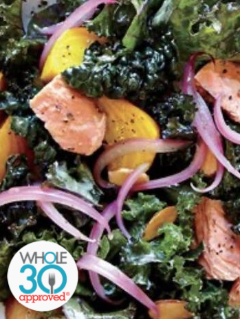 Kale, Arugula and Beets Salad With Salmon