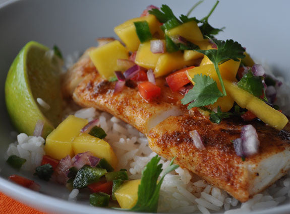 Blackened Cod with Pineapple & Mango Salsa