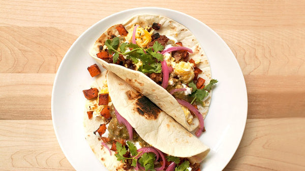Spicy Chicken Sausage & Sweet Potato Breakfast Tacos