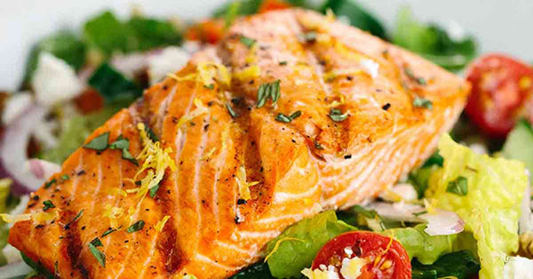 Greek Salad with Salmon
