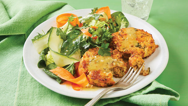 Salmon Cakes with Green Salad