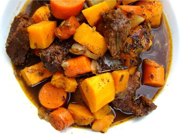 Balsamic Beef Stew with Roasted Root Vegetables