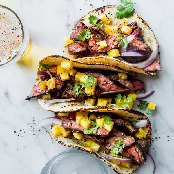 Grilled Marinated Steak Tacos With Pineapple Salsa