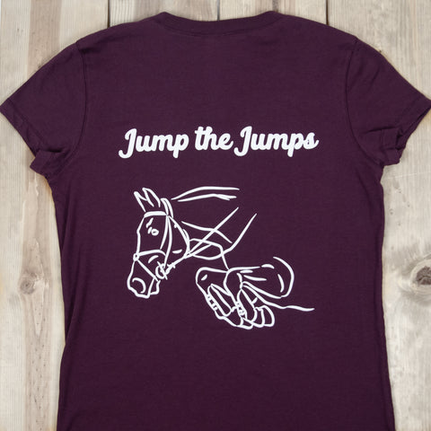 Jump the Jumps V-Neck Tee (Plum)